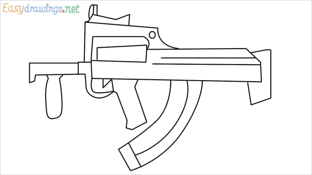 how to draw a groza gun step by step for beginners