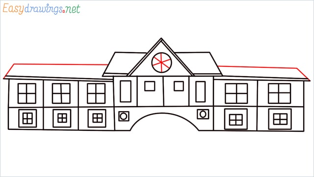 how to draw a school step (11)