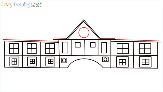 how to draw a school step (9)