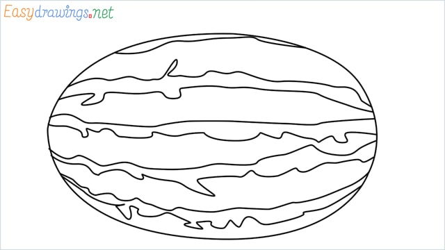 how to draw a watermelon step by step for beginners