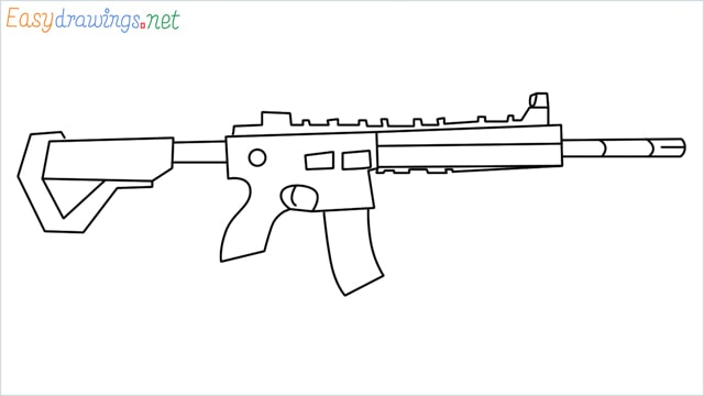 how to draw m416 step by step for beginners