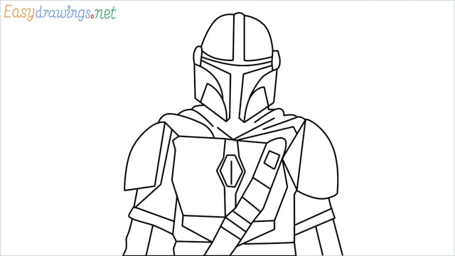how to draw mandalorian step by step for beginners
