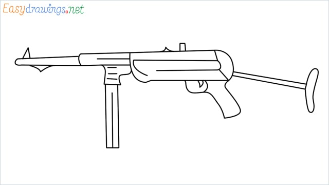 how to draw mp40 step by step for beginners