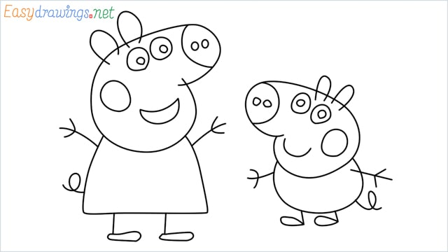 how to draw peppa pig step by step for beginners