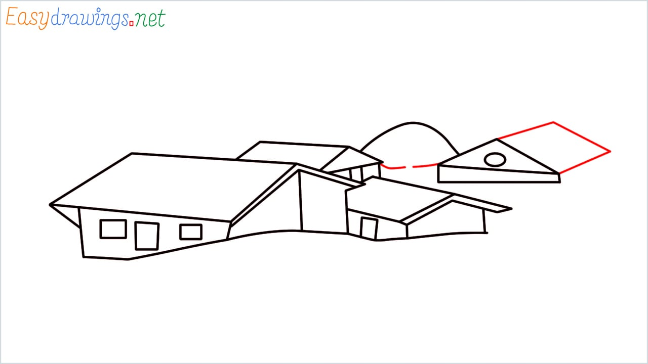 how to draw small village scenery step (10)