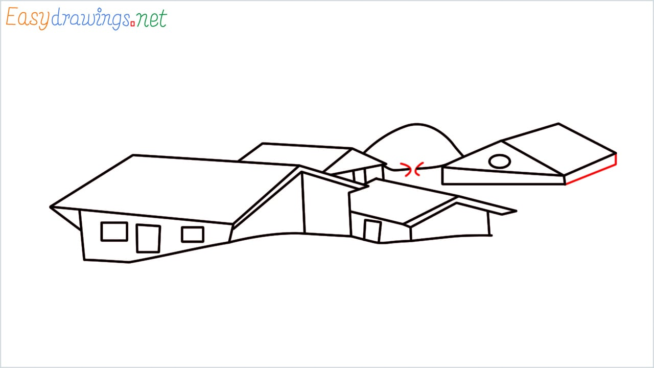 how to draw small village scenery step (11)