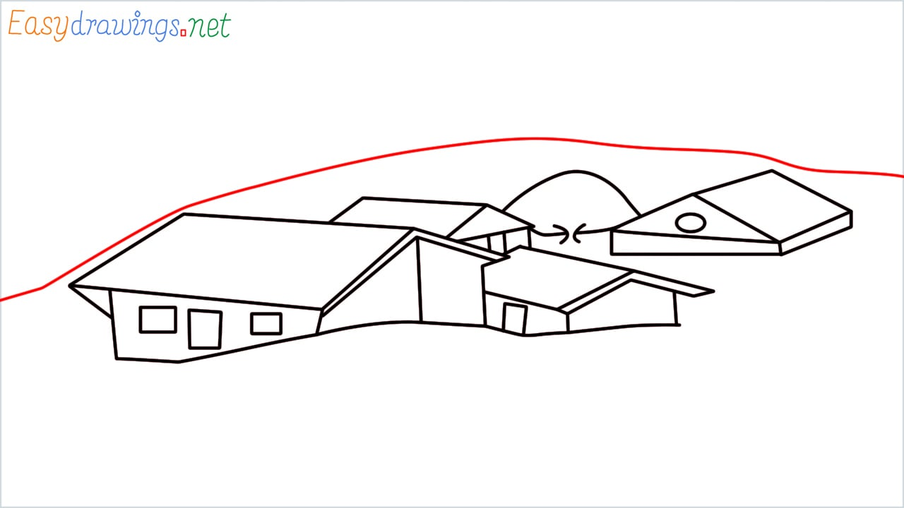 how to draw small village scenery step (12)