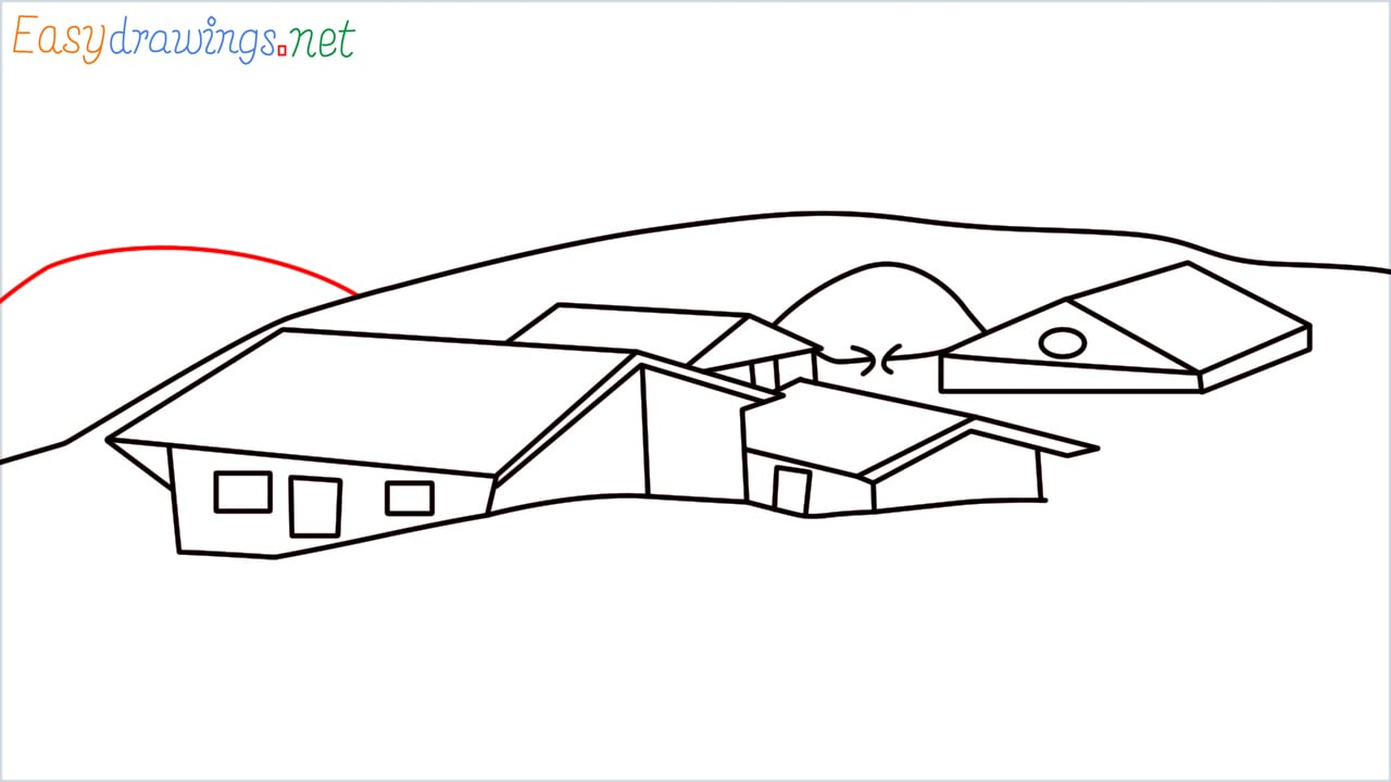 how to draw small village scenery step (13)