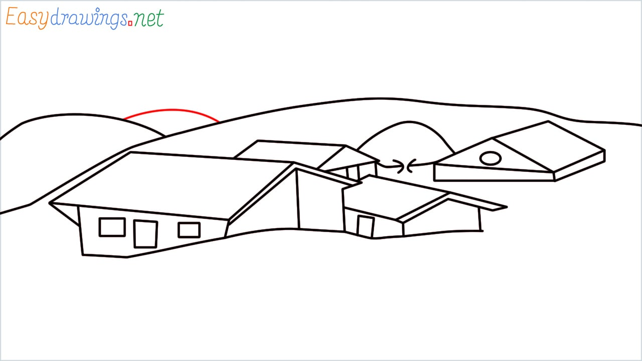 how to draw small village scenery step (14)