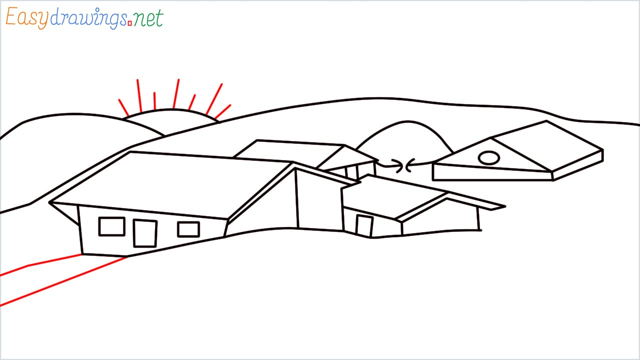 how to draw small village scenery step (15)
