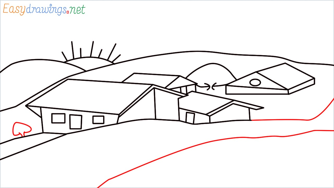 how to draw small village scenery step (16)