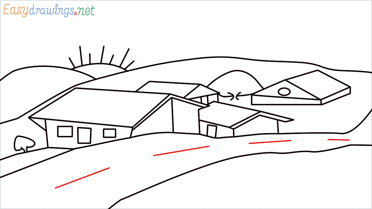 how to draw small village scenery step (17)