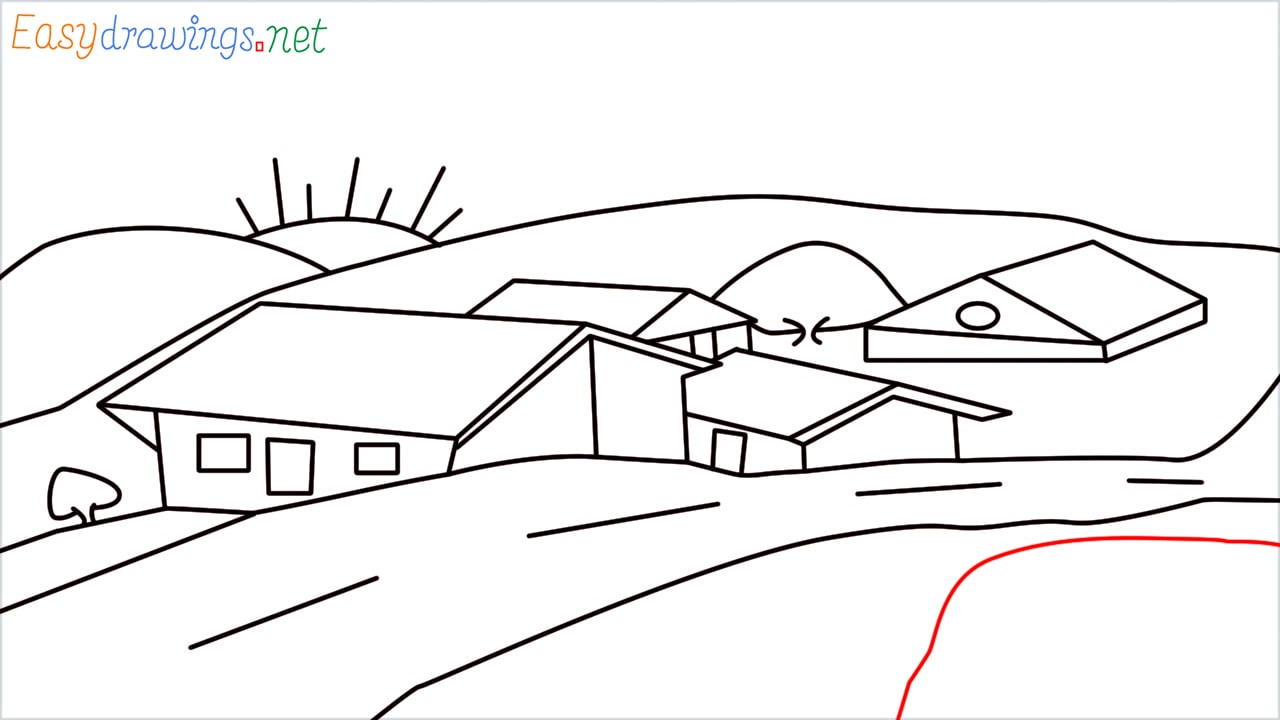 how to draw small village scenery step (18)