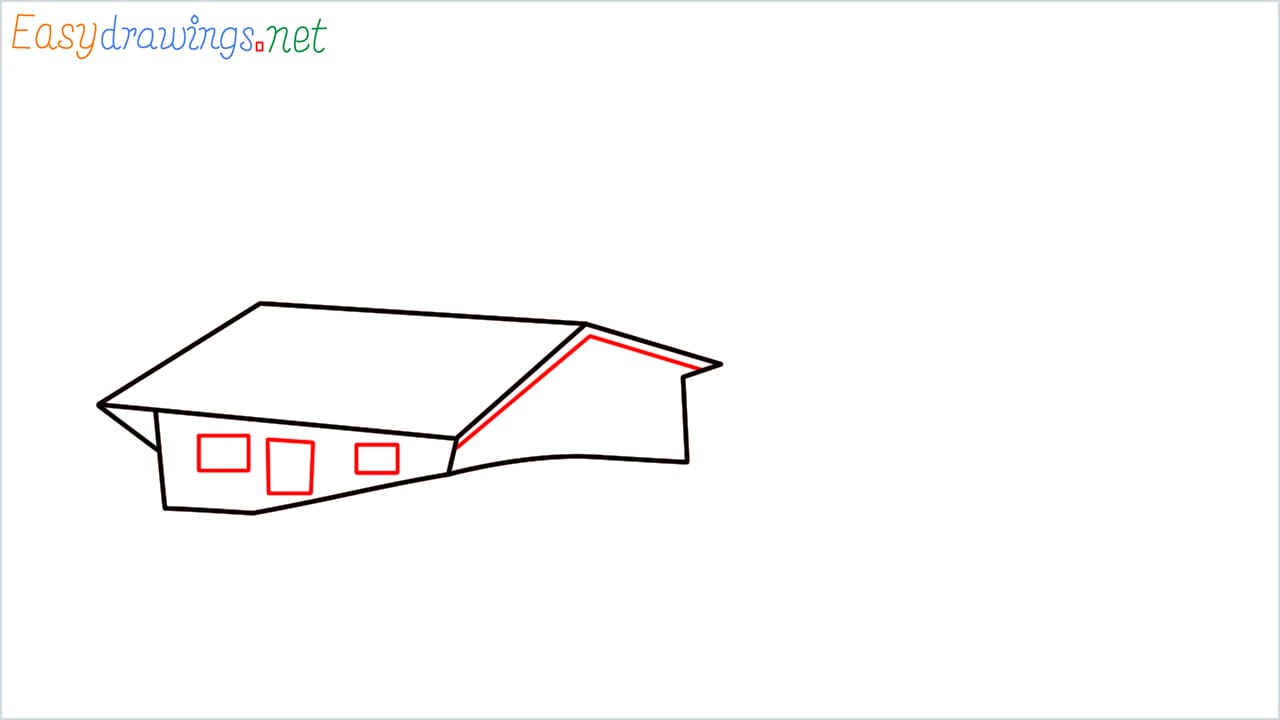 how to draw small village scenery step (4)