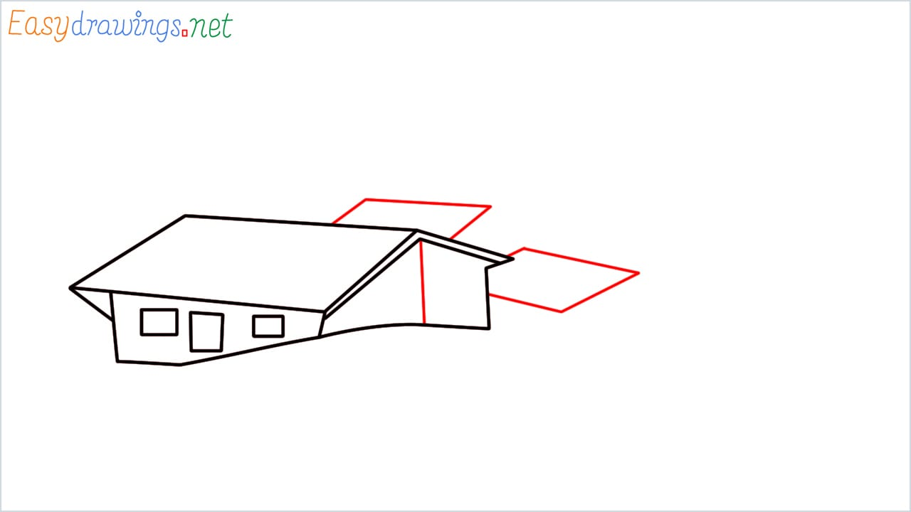 how to draw small village scenery step (5)