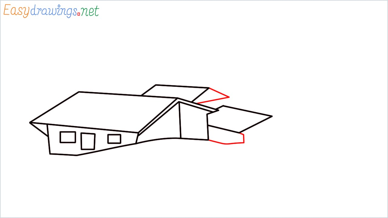 how to draw small village scenery step (6)
