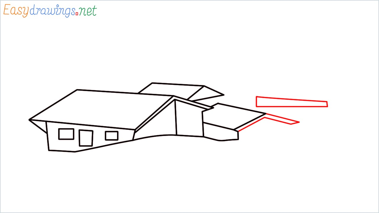 how to draw small village scenery step (7)