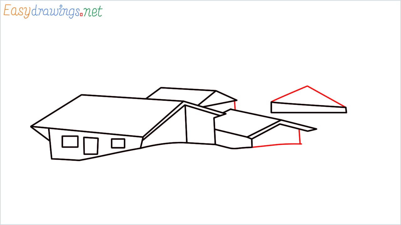 how to draw small village scenery step (8)
