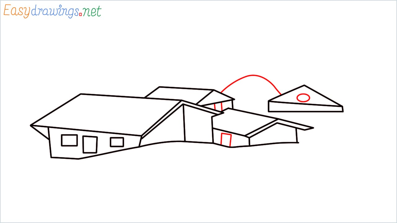 how to draw small village scenery step (9)