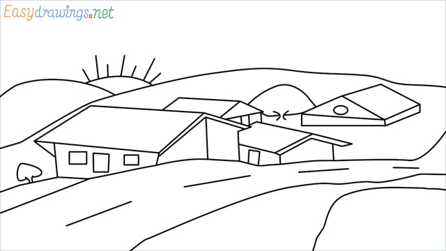 how to draw small village scenery step by step for beginners