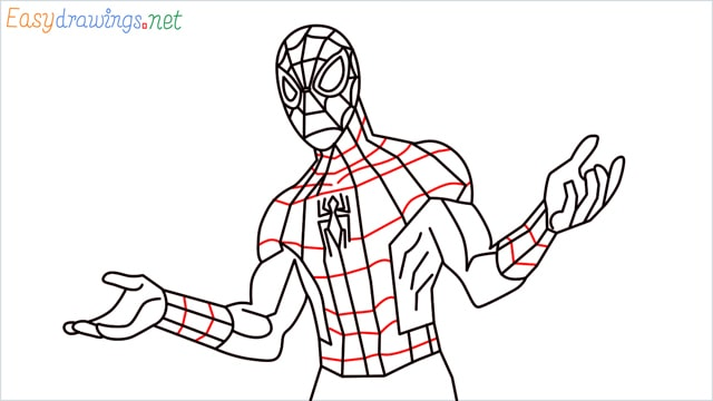 How to draw Spiderman step (16)