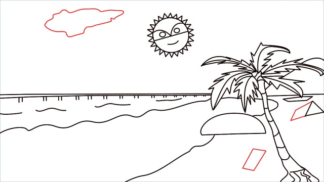 How to draw a Beach step (10)