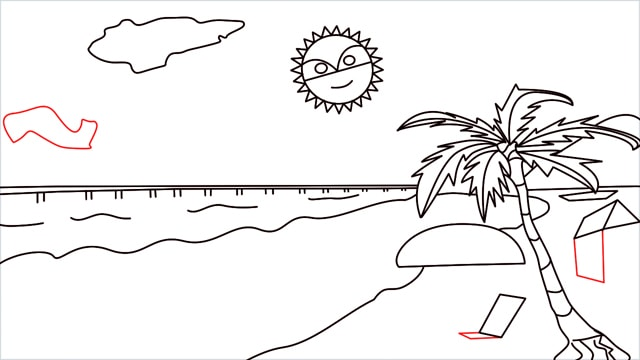How to draw a Beach step (11)