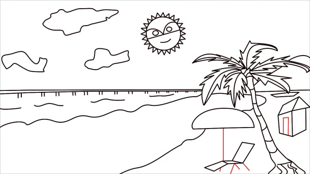 How to draw a Beach step (13)