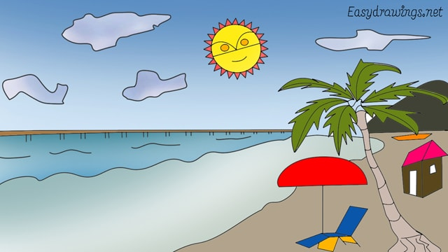 How to draw a Beach with Sun step by step for beginners
