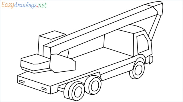 How to draw a Crane truck step by step