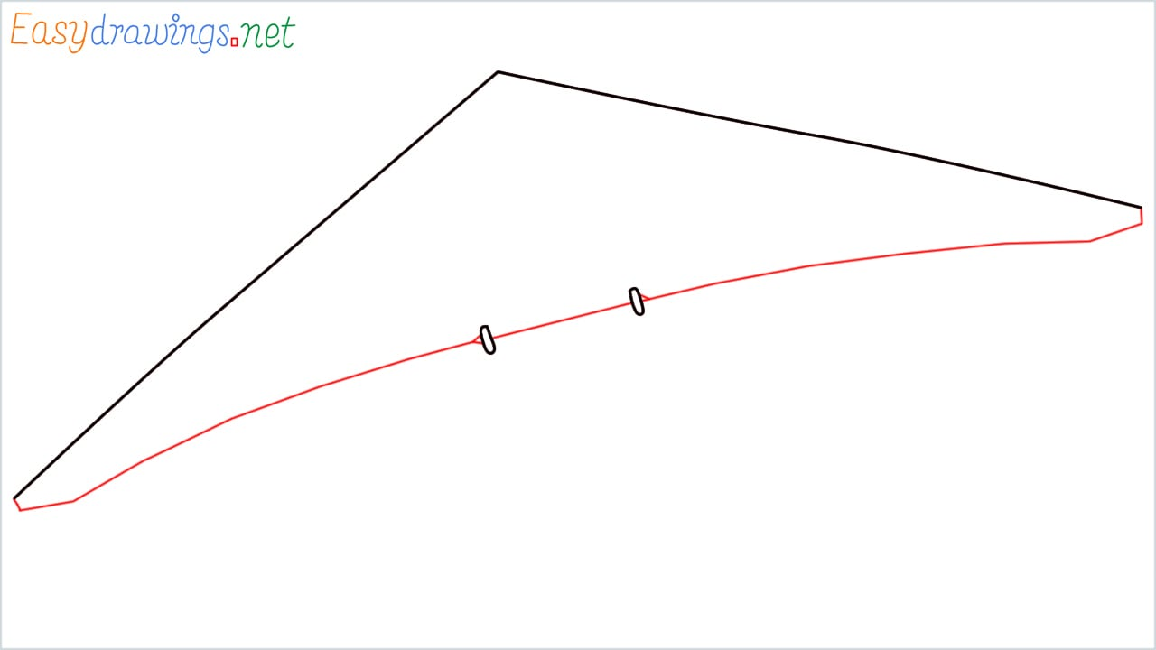 How to draw a Hang glider step (2)