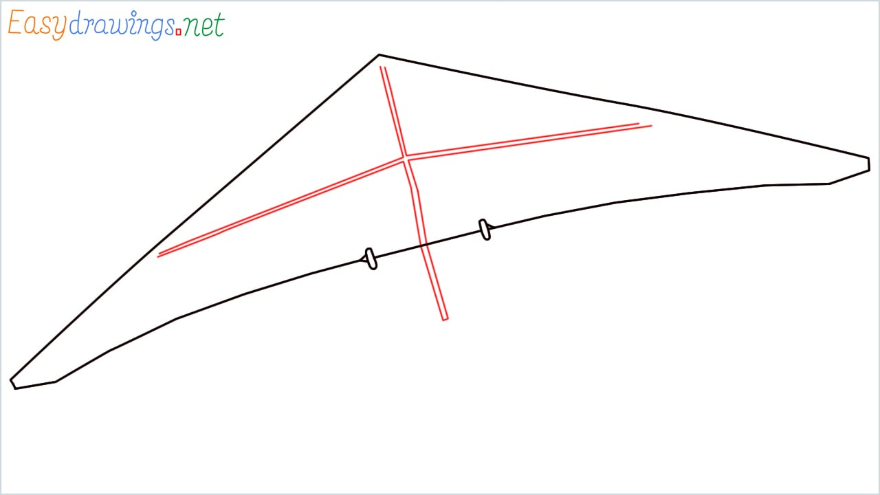 How to draw a Hang glider step (3)