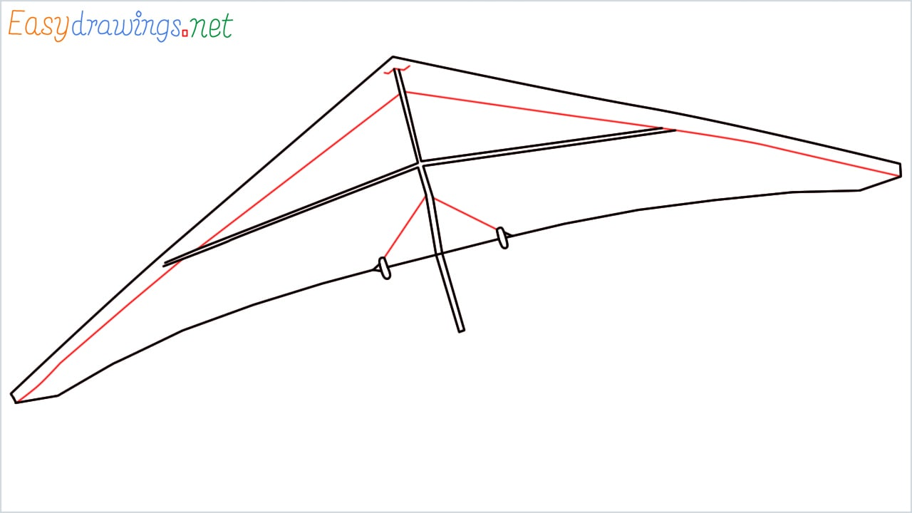 How to draw a Hang glider step (4)