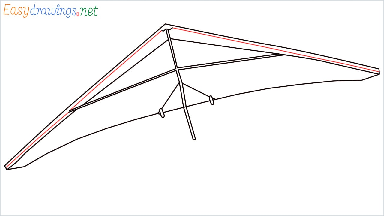 How to draw a Hang glider step (5)