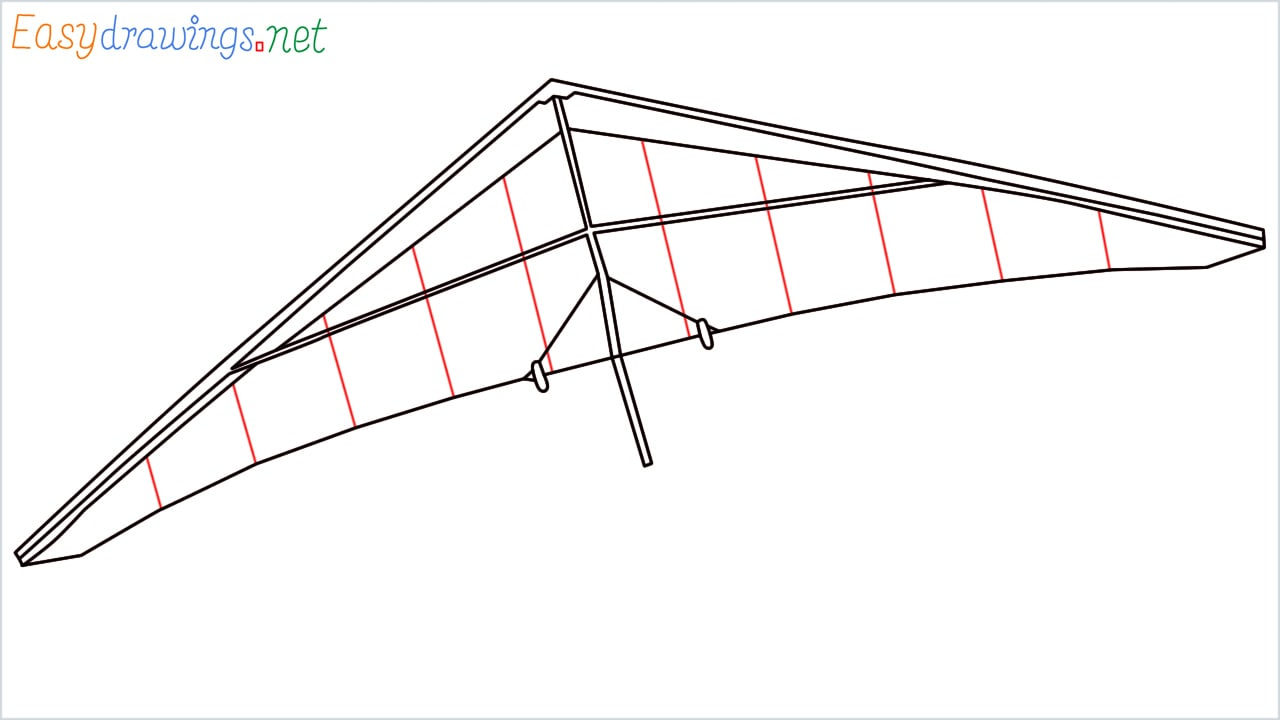 How to draw a Hang glider step (6)
