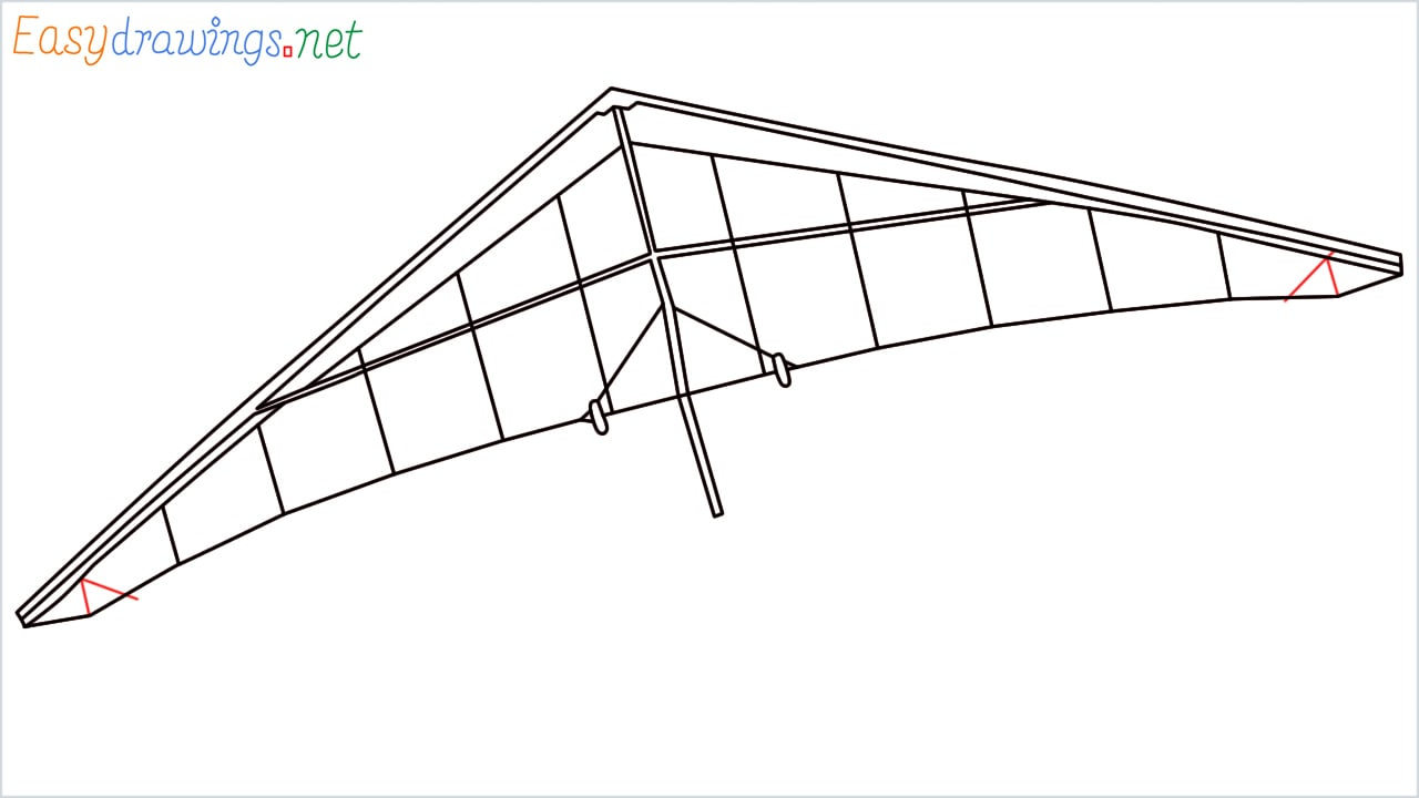 How to draw a Hang glider step (7)
