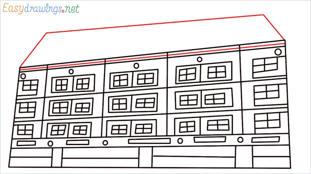How to draw a High-rise building step (10)