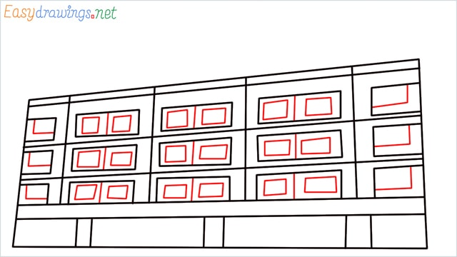 How to draw a High-rise building step (6)