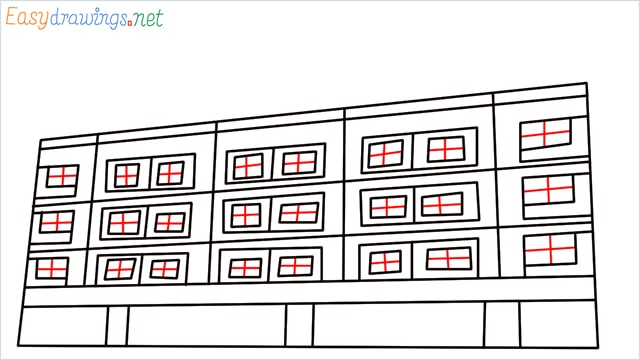 How to draw a High-rise building step (7)