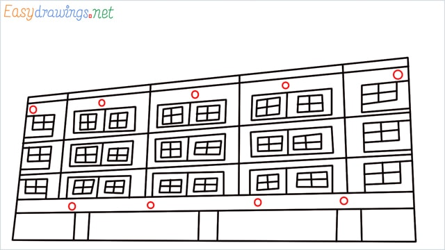 How to draw a High-rise building step (8)