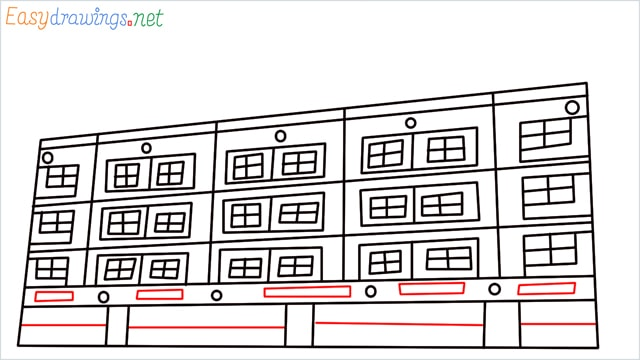 How to draw a High-rise building step (9)