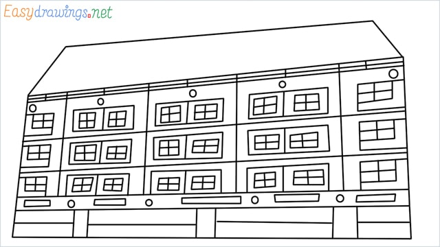 How to draw a High-rise building step by step