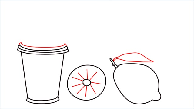 How to draw a Lemon and Juice step (4)