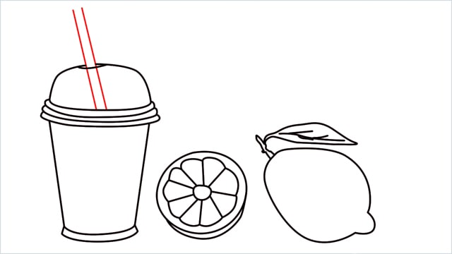 How to draw a Lemon and Juice step (7)