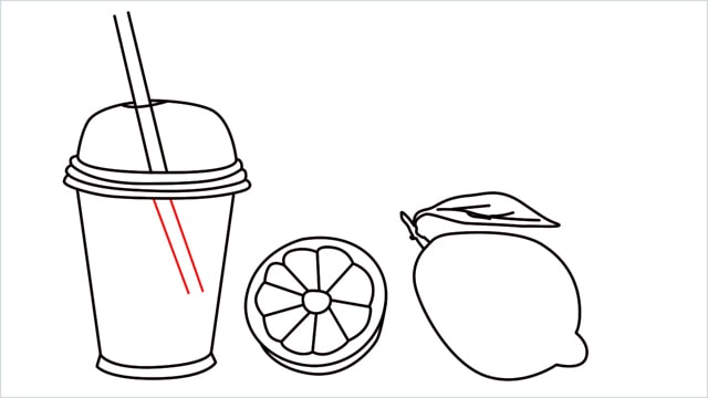 How to draw a Lemon and Juice step (8)