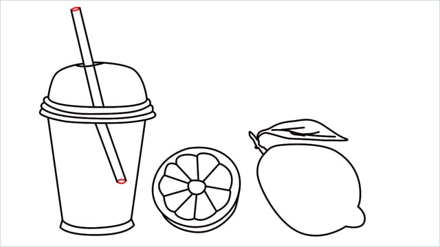 How to draw a Lemon and Juice step (9)