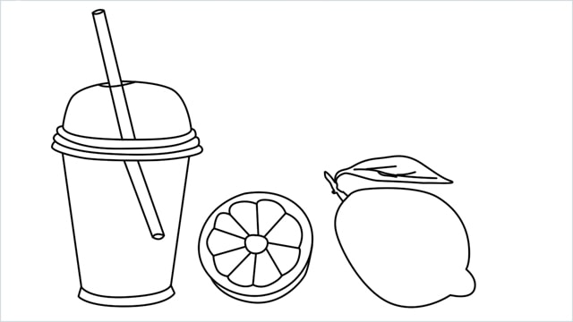 How to draw a Lemon and Juice step by step