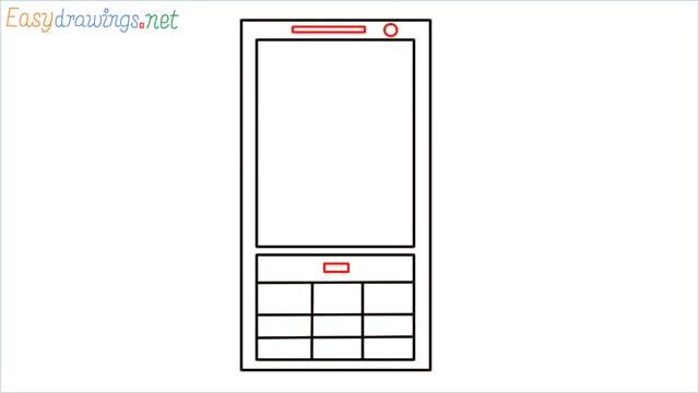 How to draw a Mobile phone step (5)