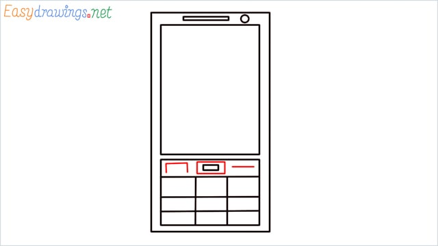 How to draw a Mobile phone step (6)