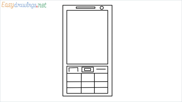 How to draw a Mobile phone step by step